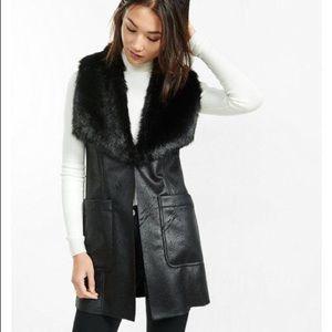 Express Faux Suede and Fur Vest